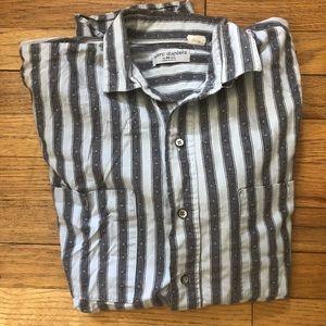 ⬇️35 Marc Daniels Grey/White Striped button Down M